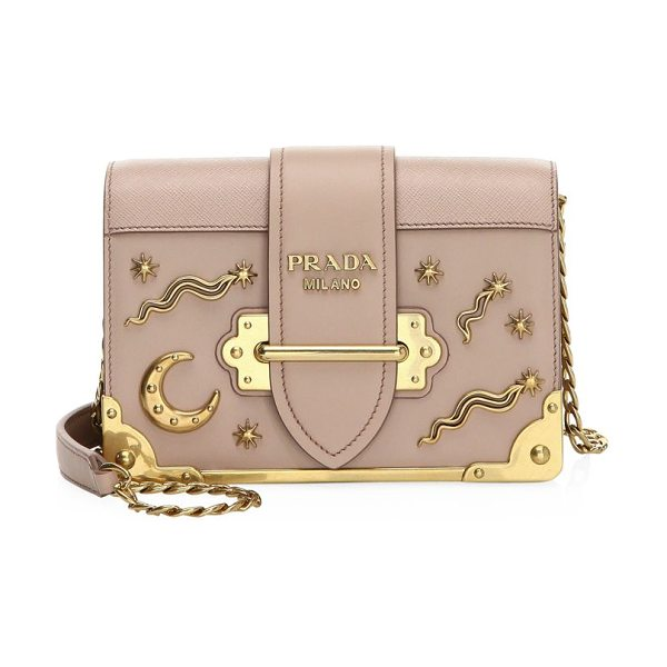 PRADA cahier studded saffiano & leather shoulder bag - Boxy saffiano-leather bag with metal celestial motif....