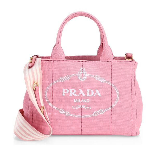 142f364b6e8f ... top quality prada small canvas shopper in pink high style cotton blend  tote in a c921f