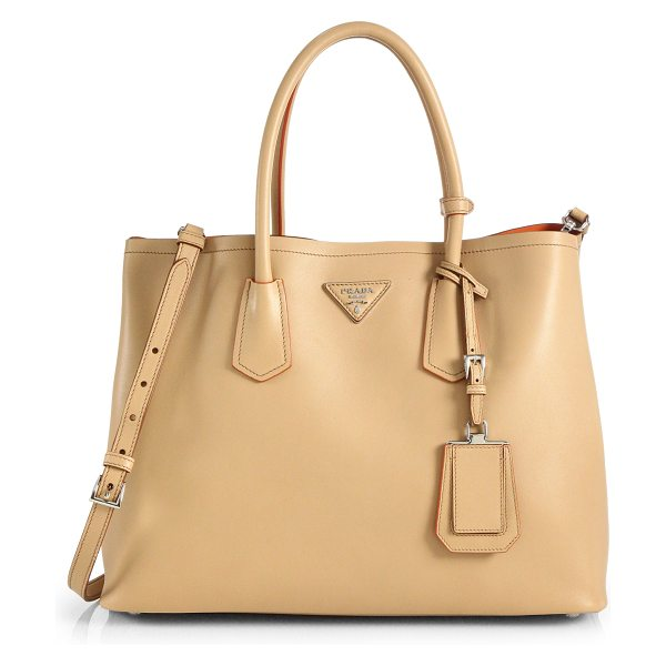 Prada City calf medium double bag in noisette-nude - Crafted from smooth calf leather, this two-compartment...