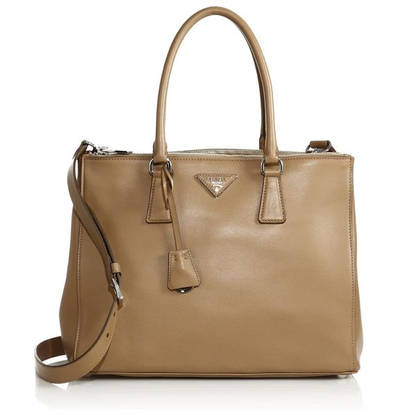 PRADA city calf medium double-zip tote in caramel - Timeless structured design in smooth, buttery leather....