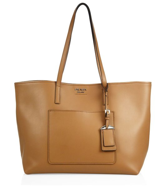 Prada city leather tote in caramel - Wide leather tote in smooth leather with removable...