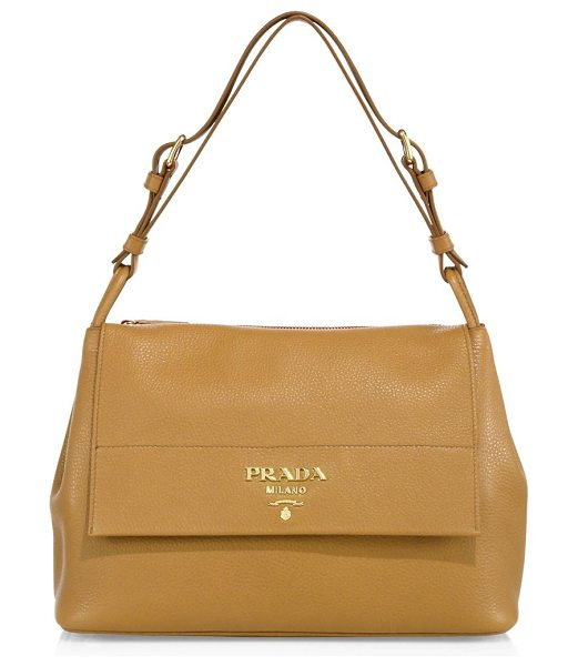 Prada daino leather flap shoulder bag in tan - Rich pebbled leather shoulder bag with fold-over flap....