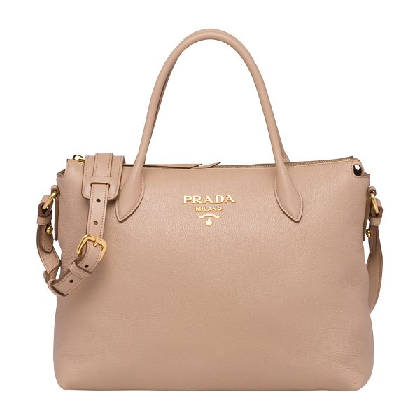 PRADA Daino Medium Leather Tote Bag - Prada calf leather tote bag. Thin tote handles....