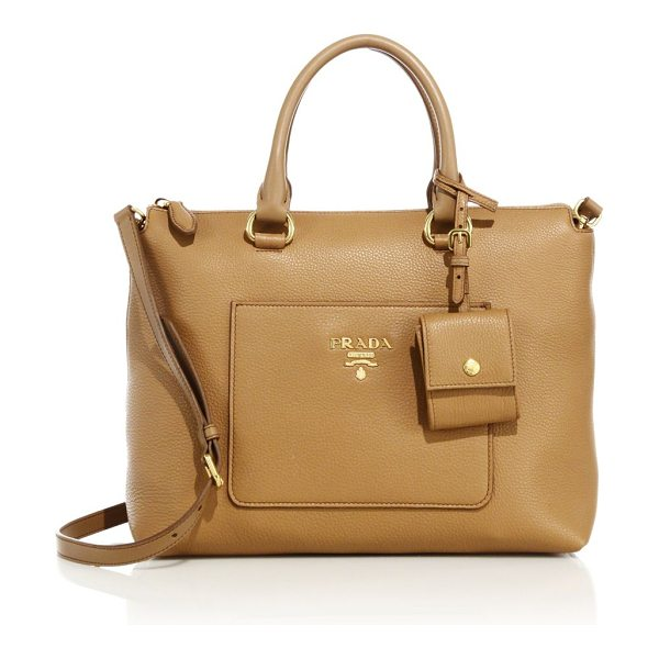 Prada daino zip leather tote in camel - Rich pebbled leather shapes structured silhouette....