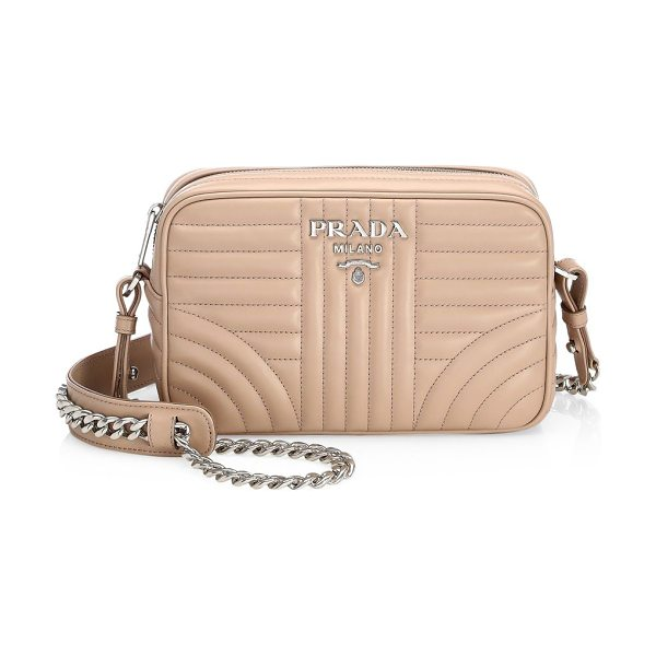 Prada diagramme leather camera bag in cipria - Chain strap anchors enduring quilted mini bag....