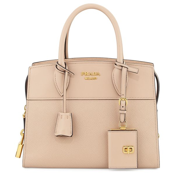 Prada Esplanade Small City Satchel Bag in nude - Prada saffiano leather city satchel bag with golden...