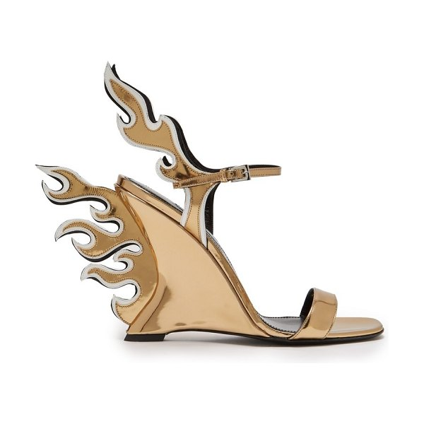Prada Flame Patent Leather Sandals in gold - Prada - Prada's Flame sandals are a coveted archival...