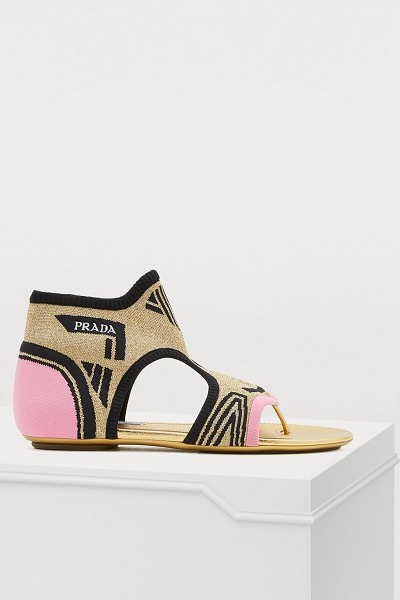 Prada Flat sandals in gold/pink/blk