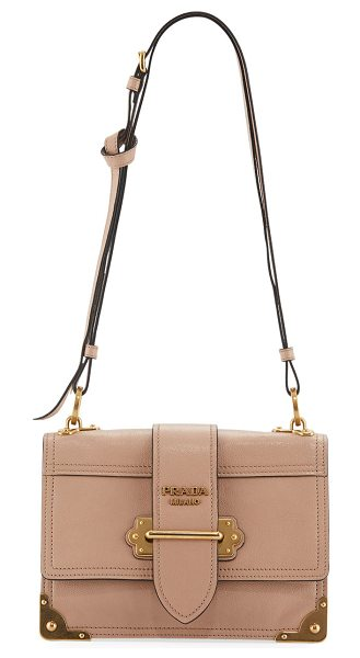Prada Glace Cahier Small Calf Shoulder Bag in blush