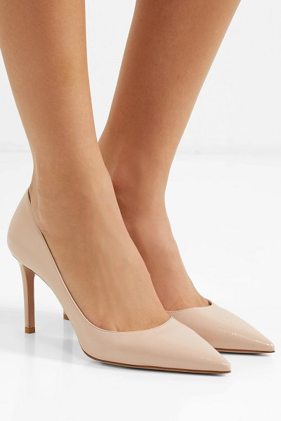 Prada glossed textured-leather pumps in neutral