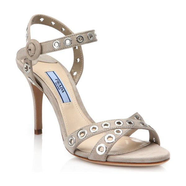 Prada Grommeted strappy suede sandals in tan - Edgy metal grommets polish strappy suede...