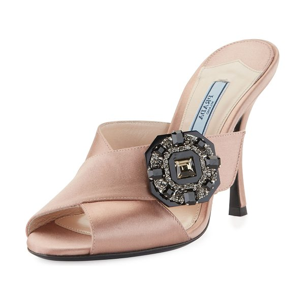 "Prada Jeweled Satin 100mm Slide Sandals in nude - Prada satin sandal with jeweled brooch at side. 4""..."