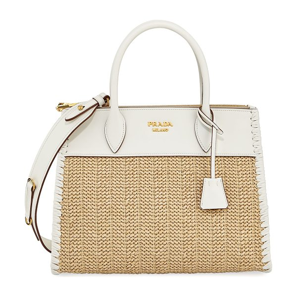 Prada Large Paradigm Basket Tote in light beige - Prada raffia and calf leather tote bag with golden...