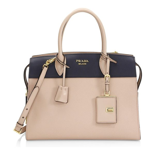 Prada medium esplanade leather satchel in cipriabaltico - Structured satchel of mixed saffiano and leather...