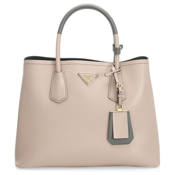 Prada large double leather tote in cipria marmo