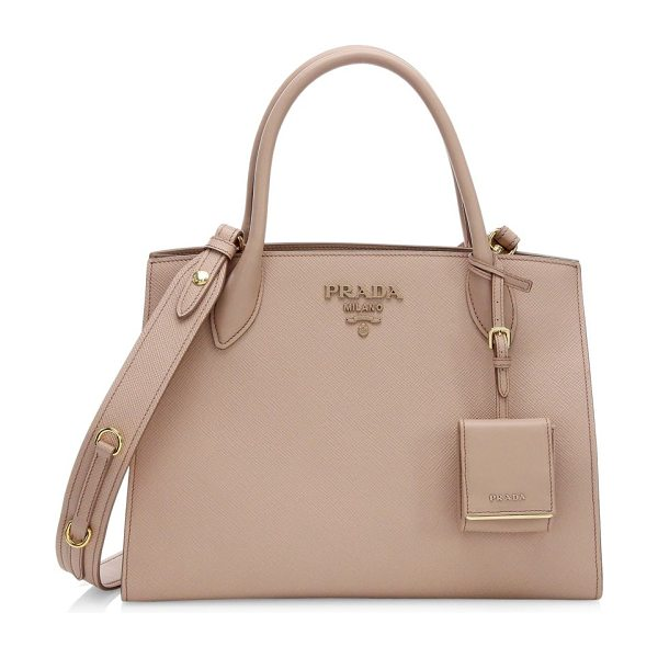 Prada large monochrome leather tote in cipria - Large leather tote embellished with timeless logo Double...
