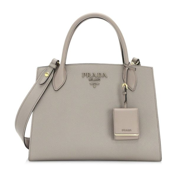 Prada large monochrome leather tote in argilla grey