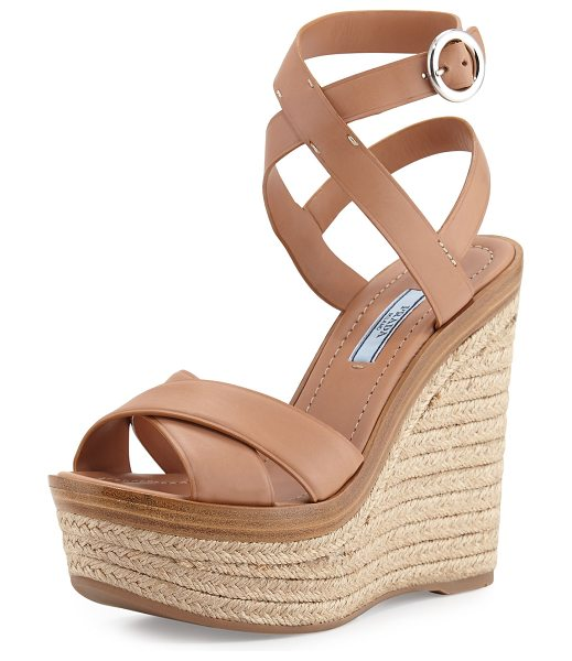 "PRADA Leather Ankle-Wrap Wedge Sandal - Prada vitello leather sandal. 5.5"" jute-covered wedge..."
