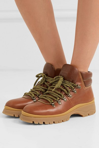 Prada leather boots in tan