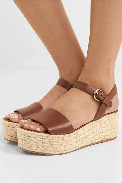 Prada leather espadrille platform sandals in tan