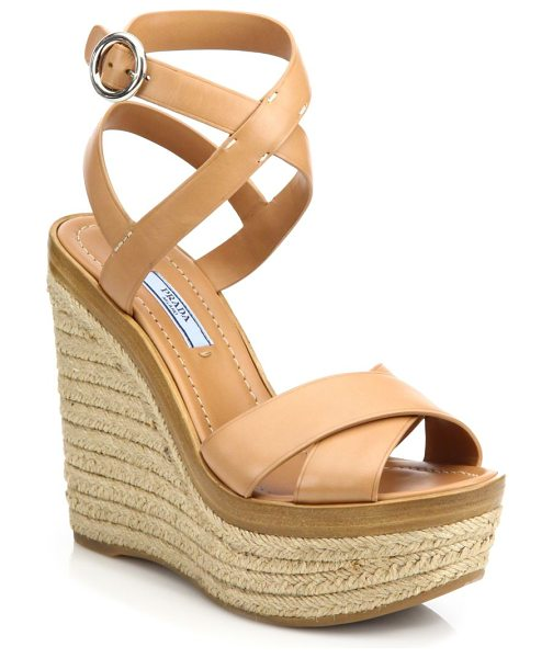 PRADA Leather espadrille platform wedge sandals - Leather espadrille wedge with crisscross...