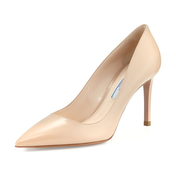 "PRADA Leather Pointed-Toe 85mm Pump in nude - Prada leather pump. 3.3"" covered heel. Pointed toe;..."