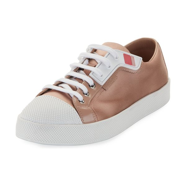 Prada Linea Rossa Satin Lace-Up Two-Tone Low-Top Sneakers in beige - Prada Linea Rossa satin low-top sneaker with rubber...
