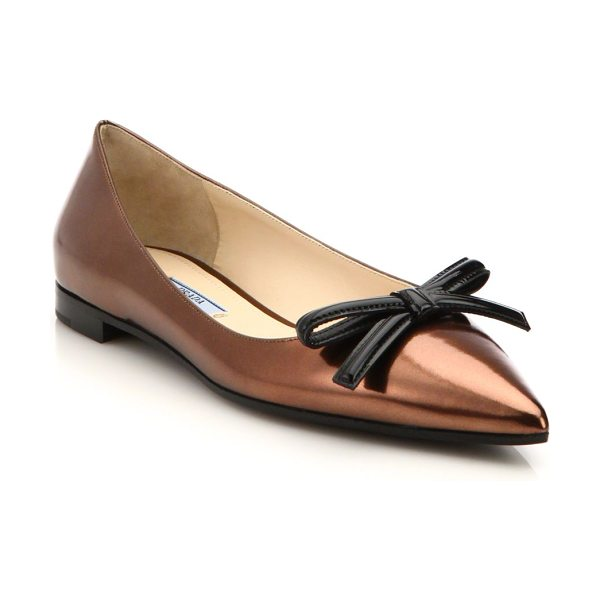 Prada Metallic leather bow flats in copper - A patent bow offers the chic finishing touch to these...