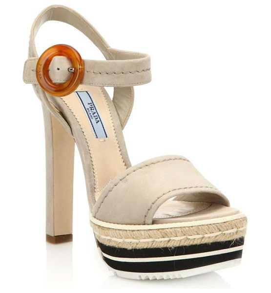 Prada Microsole suede platform sandals in lightbeige - Robe and rubber platform modernize suede...