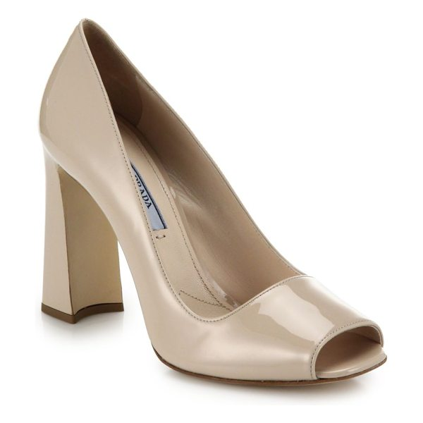 Prada Open-toe block-heeled pumps in beige - Classic, glossy leather pumps with a chic block heel and...