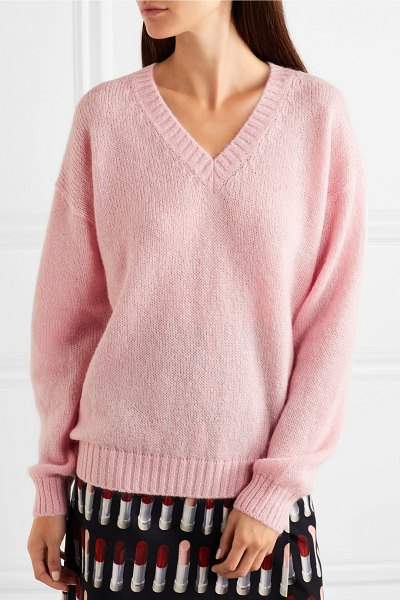 Prada oversized mohair-blend sweater in blush - Prada's sumptuously soft sweater has been knitted in...