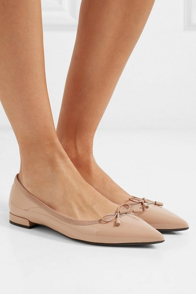 Prada patent-leather ballet flats in neutral