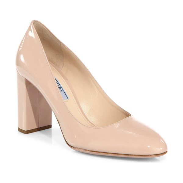 Prada patent leather block heel pumps in cipria - From the Saks It List: The Mod Shoe. Timeless patent...