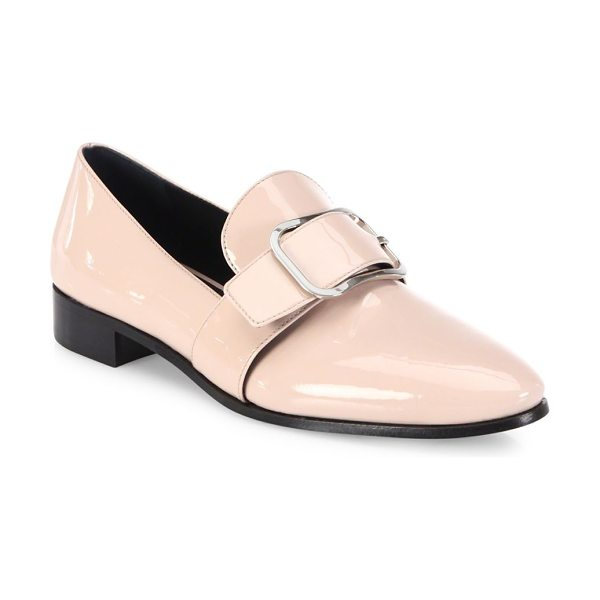 Prada patent leather buckle loafers in cipria - Buckled strap revamps classic loafer in glossy patent....