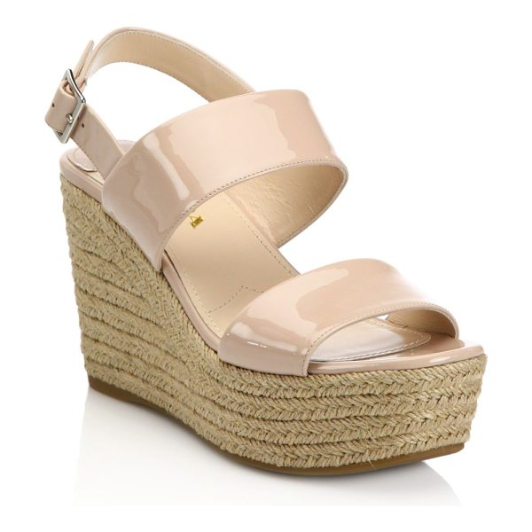 Prada patent leather espadrille platform wedge sandals in beige - Banded patent leather sandal on chunky espadrille sole....