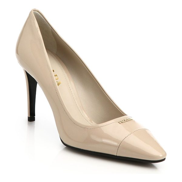 Prada Patent leather pumps in beige - Classic patent leather pumps subtly stamped with...