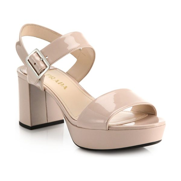 Prada Patent leather sandals in blush - Chunky block-heeled sandals with platform, crafted from...