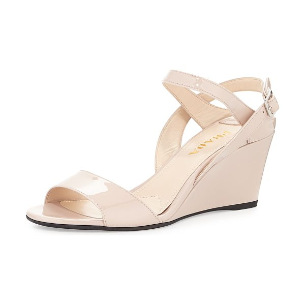 "PRADA Patent Leather Wedge Sandal - Prada patent leather wedge sandal. 3"" covered heel...."