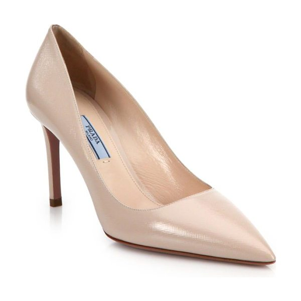 PRADA Patent saffiano leather point-toe pumps in nude - The essential point-toe pump is cast in saffiano leather...