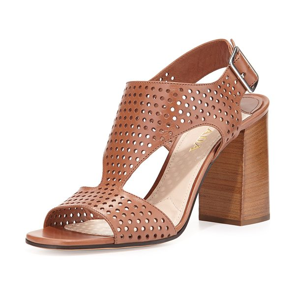 "PRADA Perforated leather t-strap sandal - Prada perforated leather sandal. 3. 5"" stacked block..."