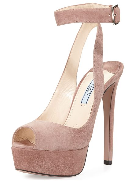 "Prada Platform ankle-wrap sandal in dark rose - Prada sandal with suede upper. 5. 5"" covered heel; 1. 5""..."