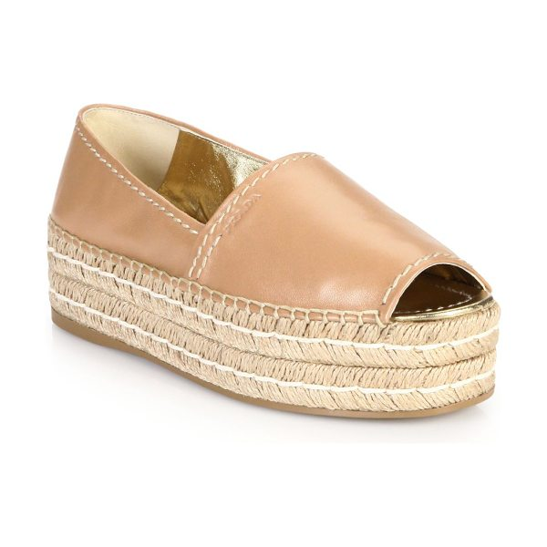 Prada Platform open-toe leather espadrilles in nude - A modern approach to classic, casual espadrilles,...