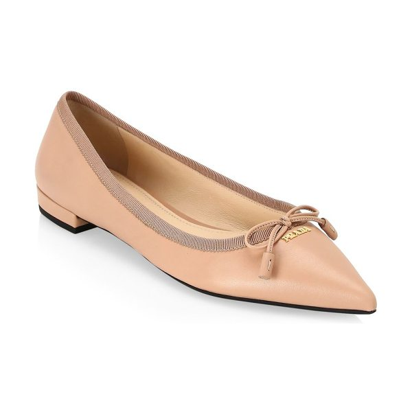 Prada point toe ballet flats in nude