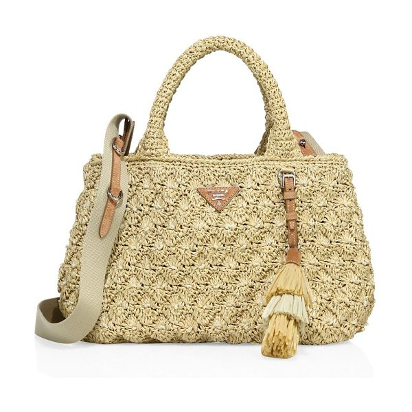 Prada raffia pois tote in natural