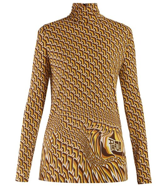 Prada roll-neck geometric-print jersey top in brown multi