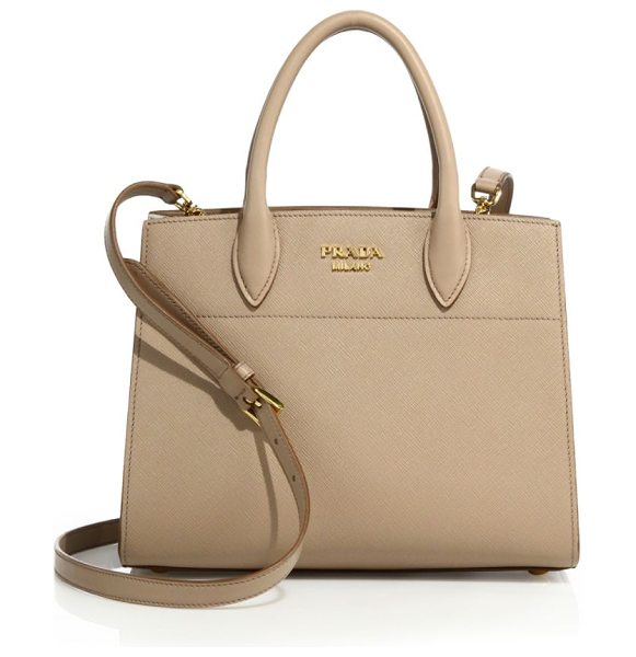 PRADA saffiano & city leather bibliotheque in tan - Structured saffiano tote with smooth leather accents....