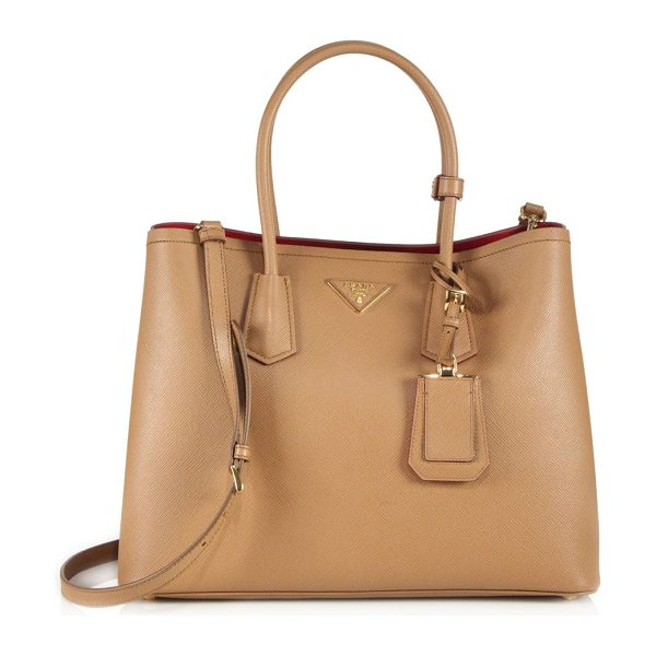 Prada saffiano cuir large double bag in caramelfuoco - Impeccably crafted of Saffiano calfskin with a...