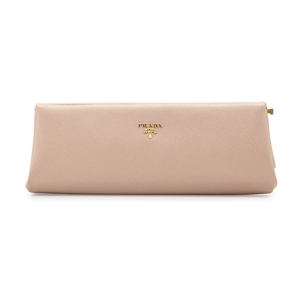 Prada Saffiano East-West Frame Clutch in blush - Prada saffiano leather clutch with golden hardware....