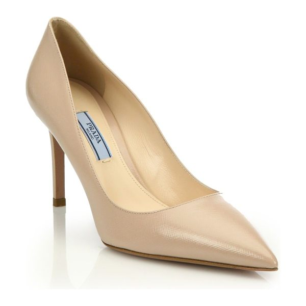 Prada saffiano leather point toe pumps in cipria - Saffiano leather enhances sophisticated point-toe pump....