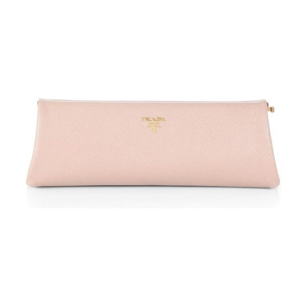 Prada saffiano lux clutch in cammeo-pink - Signature saffiano leather clutch with a frame closure....